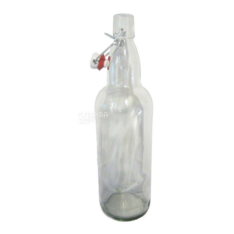 Бутылка с бугельной пробкой, 1 л, стекло