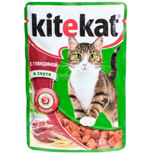 Kitekat, 100 g, food, for cats, with beef in sauce