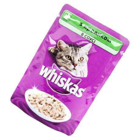 Whiskas, 100 г, корм, для котів, з кроликом в соусі