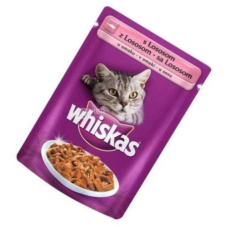 Whiskas, 100 г, корм, для котів, з лососем в соусі