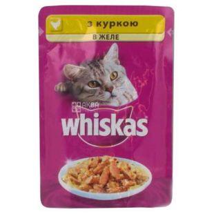 Whiskas, 100 г, корм, для котів, з куркою в желе