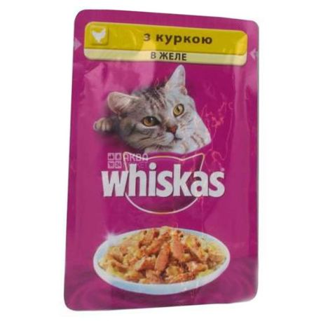 Whiskas, 100 г, корм, для котов, с курицей в желе