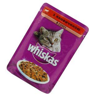 Whiskas, 100 г, корм, для котов, с говядиной в соусе