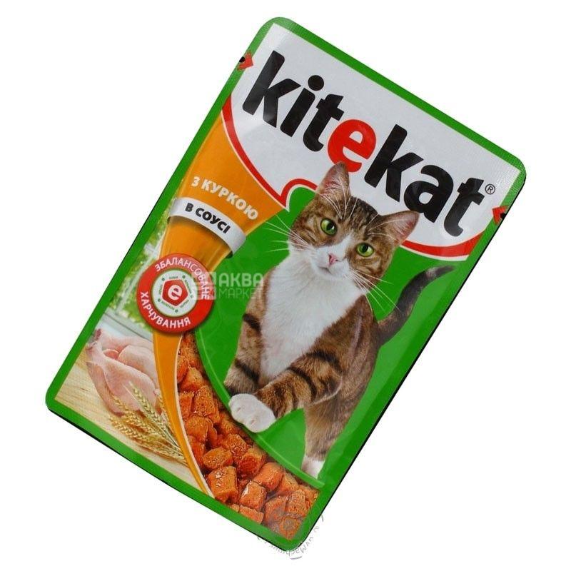 Kitekat, 100 г, корм, для котов, с курицей в соусе