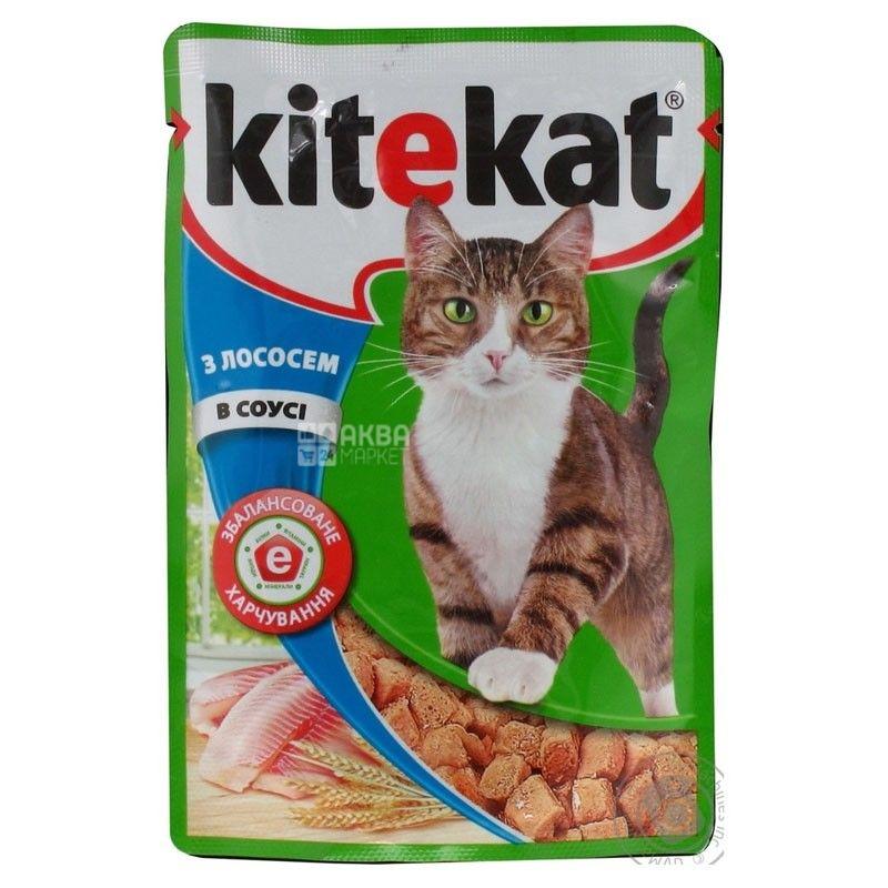 Kitekat, 100 г, корм, для котів, з лососем в соусі