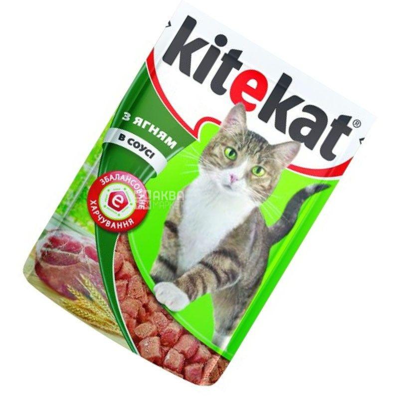 Kitekat, 100 г, корм, для котів, з ягням в соусі