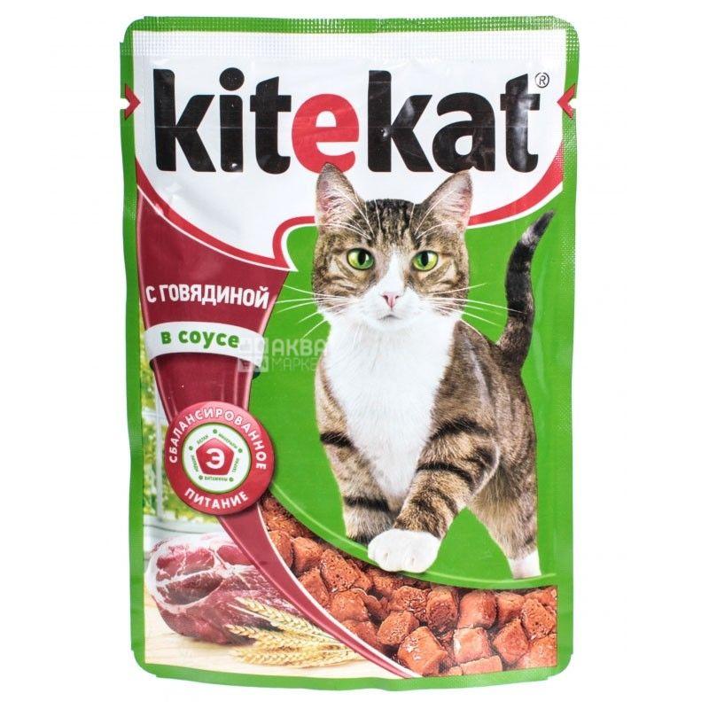 Kitekat, 100 г, корм, для котів, з телятиною в соусі