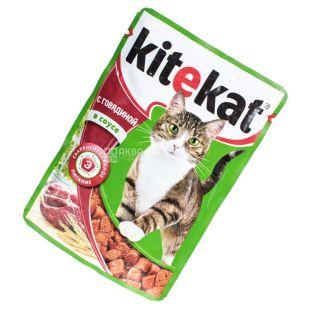 Kitekat, 100 г, корм, для котов, с телятиной в соусе