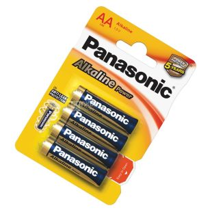 Panasonic, 4 шт., AA, батарейки, Alkaline power, м/у