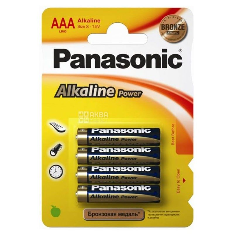 Panasonic, 4 шт., AAА, батарейки, Alkaline power, м/у