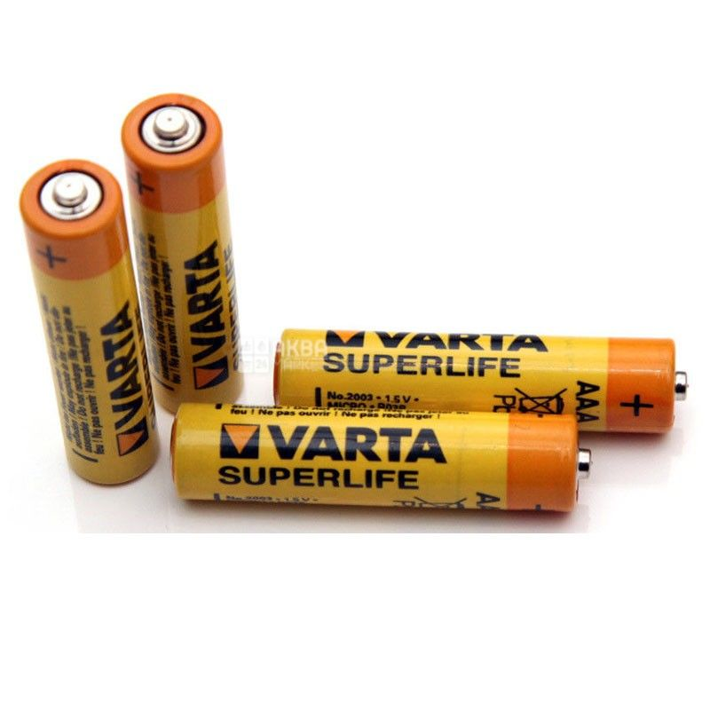 VARTA, 4 шт., AAA, батарейки, SUPERLIFE, м/у