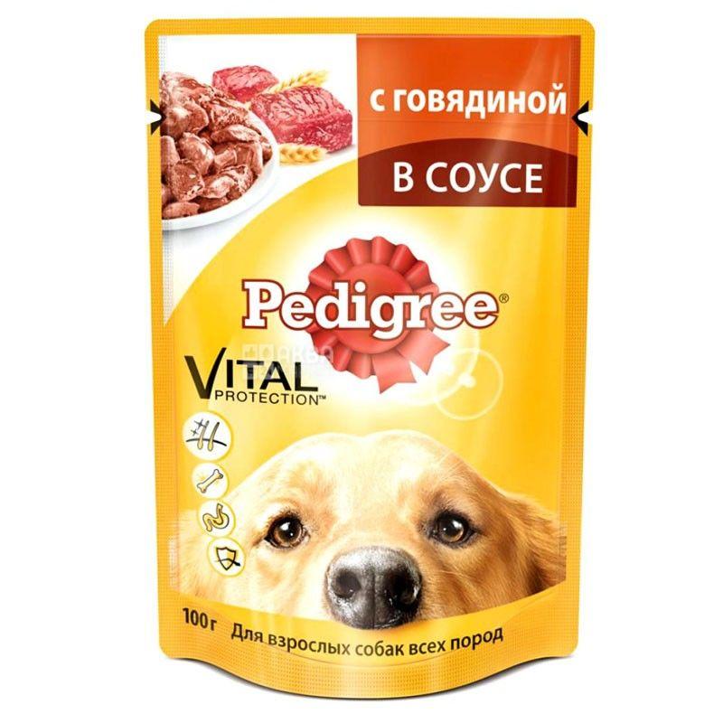 Pedigree, 100 г, корм для собак, яловичина в соусі