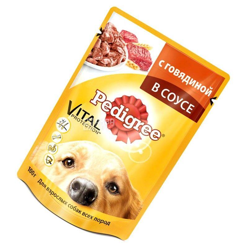 Pedigree, 100 г, корм для собак, говядина в соусе