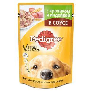 Pedigree, 100 г, корм для собак, говядина и кролик в соусе