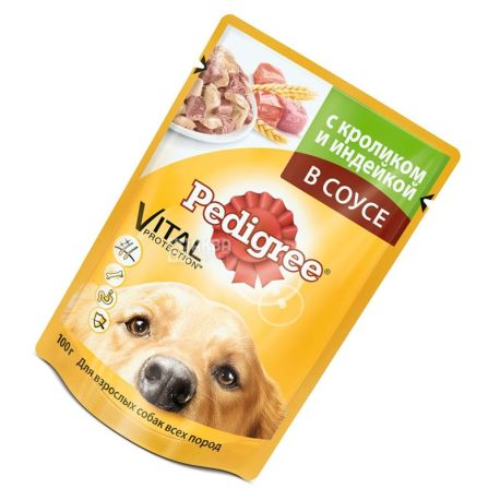 Pedigree, 100 g, dog food, beef and rabbit in sauce