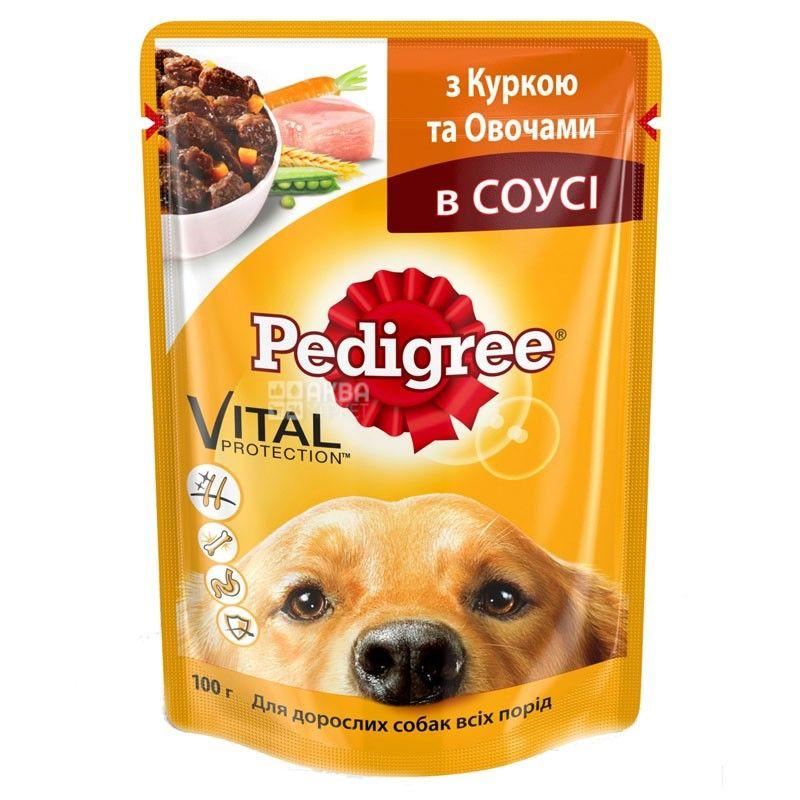 Pedigree, 100 г, корм для собак, с курицей и овощами в соусе
