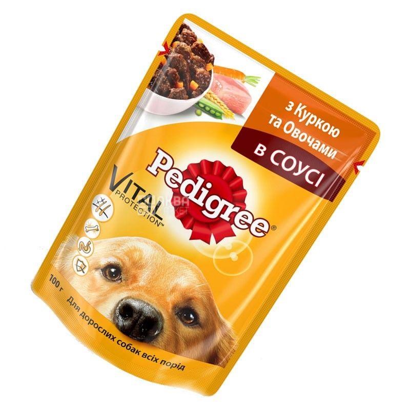 Pedigree, 100 г, корм для собак, з куркою та овочами в соусі