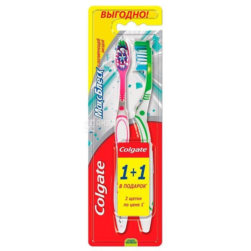 Colgate, 1+1 шт., зубная щетка, макс блеск