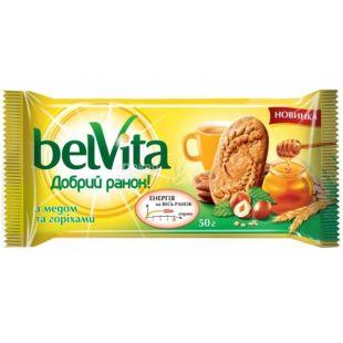Belvita Добрий ранок, 50 г, печиво, з медом та горіхами
