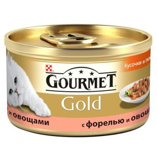 Gourmet Gold, 85 g, food, for cats, with trout and vegetables