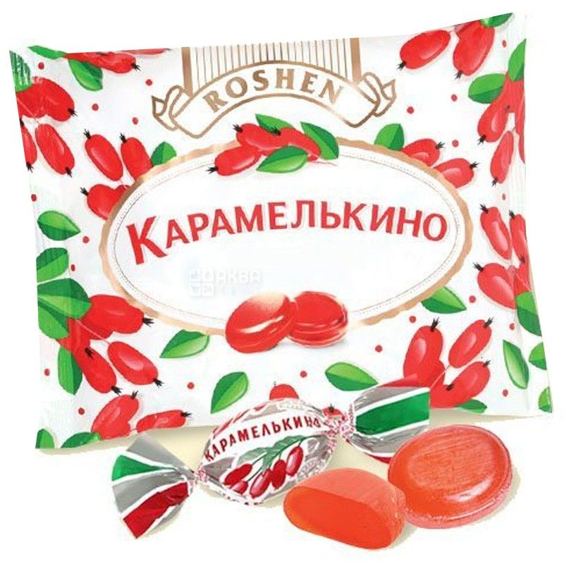 Roshen, 1 кг, леденцы, Карамелькино барбарис