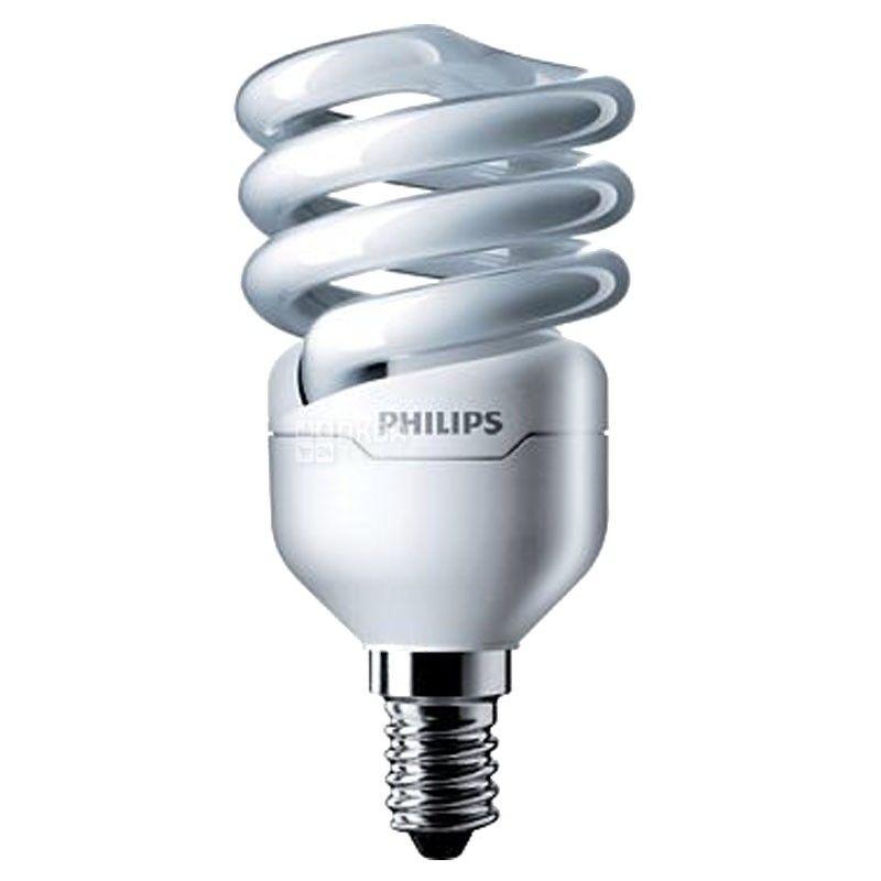 Philips, 8 Вт, лампа, Энергосберегающая, Тепло-белая спираль, м/у