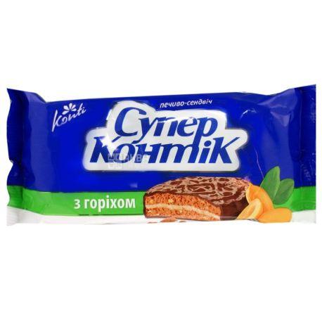 Супер-Контик, 100 г, печенье-сэндвич, С орехом