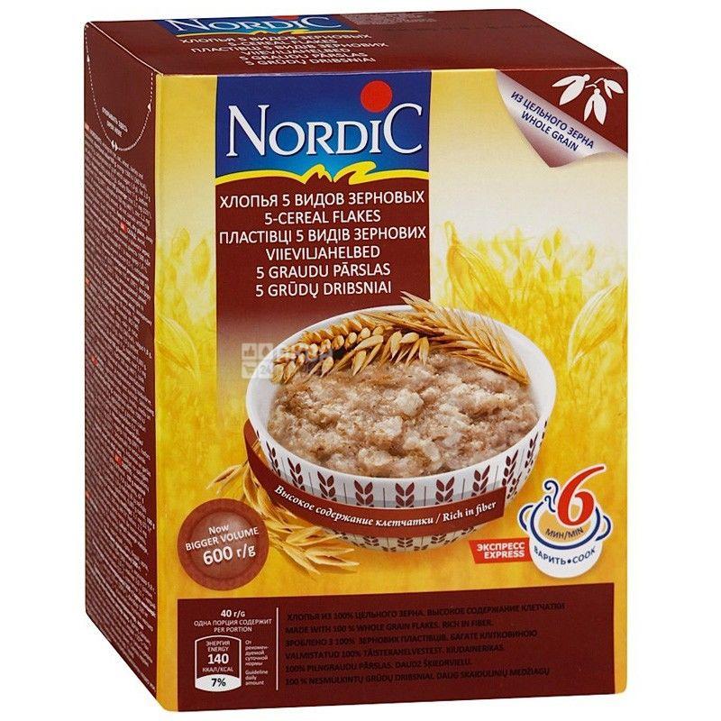 Nordic, 600 г, Хлопья Нордик, 5 видов зерновых, из цельного зерна
