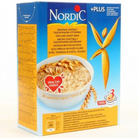 Nordic, 600 г, Хлопья Нордик, овсяные, с пшеничными отрубями