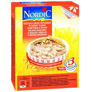 Nordic, 600 г, Пластівці Нордік, 4 види зернових з вівсяними висівками, з цільного зерна