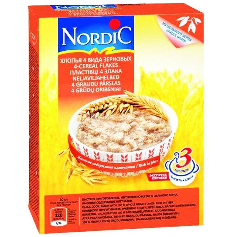Nordic, 600 г, Хлопья Нордик, 4 вида зерновых с овсяными отрубями, из цельного зерна