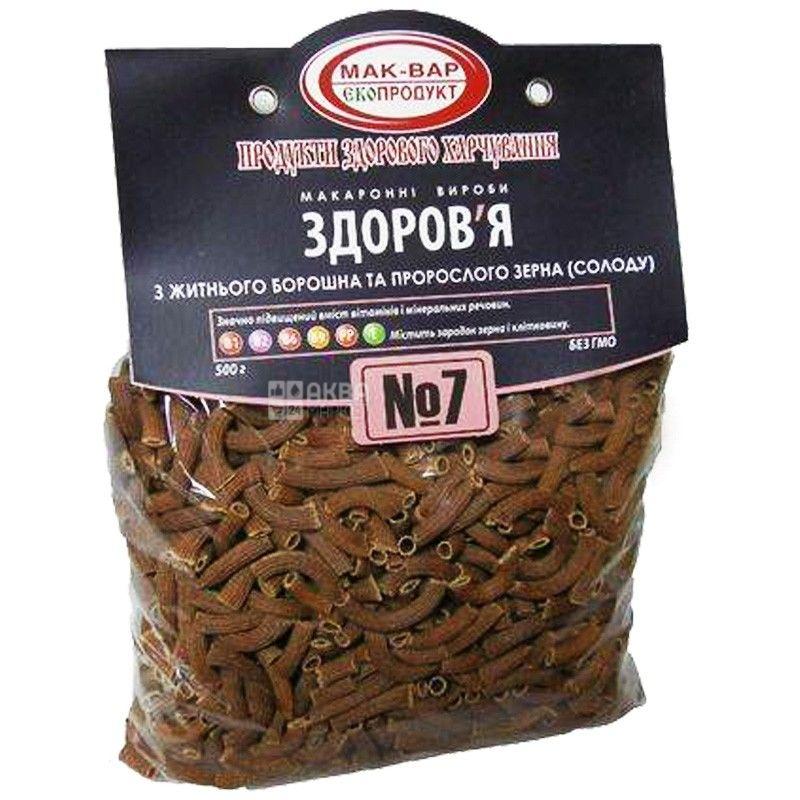 Мак-Вар Екопродукт №7, 500 г, Макарони житні з пророслим зерном, Здоров'я