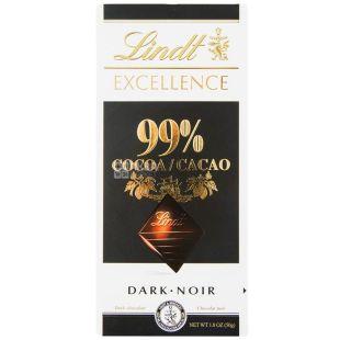 Lindt, 50 г, чорний шоколад, 99% какао, Excellence, Dark Noir