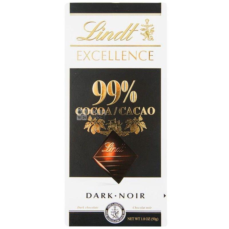 Lindt, 50 г, черный шоколад, 99% какао, Excellence, Dark Noir