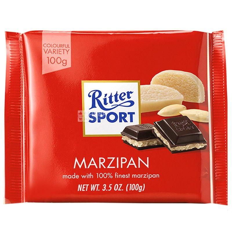 Ritter Sport, 100 г, чорний шоколад, з марципаном