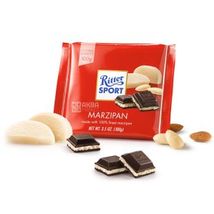 Ritter Sport, 100 g, dark chocolate, with marzipan