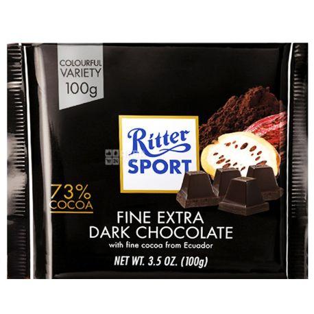 Ritter Sport, 100 г, экстра черный шоколад, 72% какао