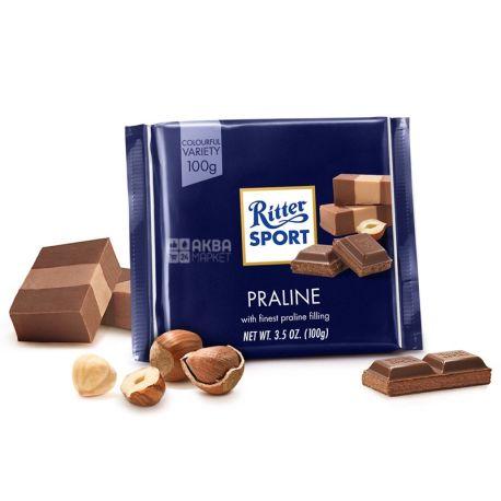 Ritter Sport, 100 г, молочний шоколад, Праліне