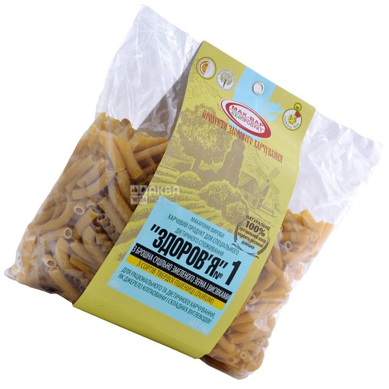Мак-Вар Екопродукт №1, 400 г, Макарони пшеничні з висівками, Здоров'я