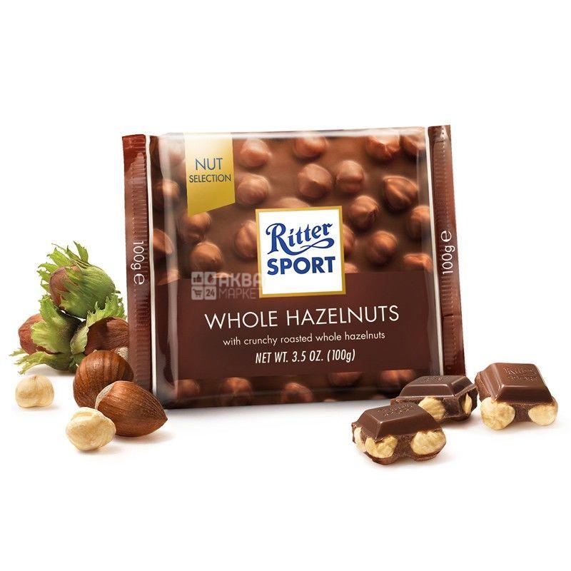 Ritter Sport, 100 г, молочный шоколад, с цельными лесными орехами