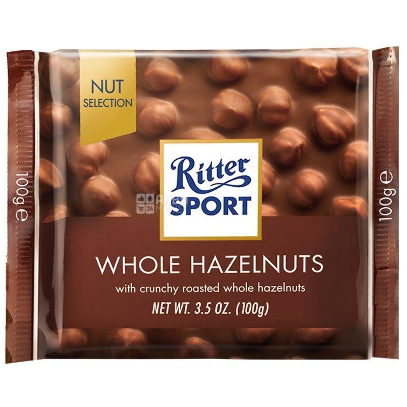 Ritter Sport, 100 г, молочний шоколад, з цільними лісовими горіхами