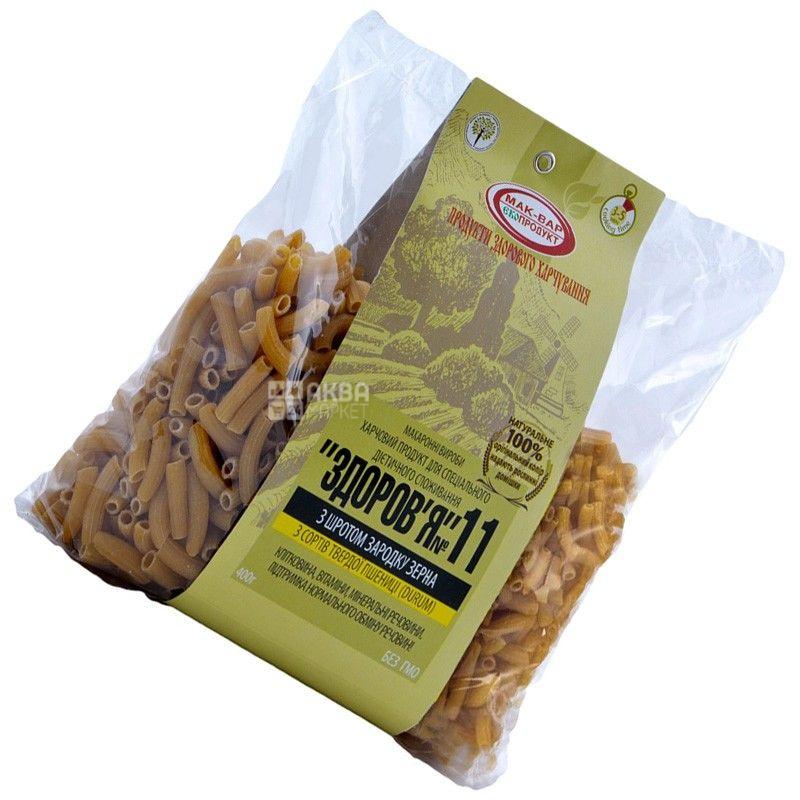Мак-Вар Экопродукт №11, 400 г, Макароны пшеничные с зародышами пшеницы, Здоровье