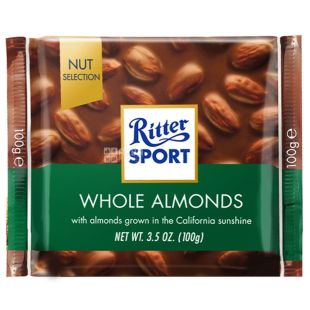 Ritter Sport, 100 г, молочний шоколад, з цільними мигдальними горіхами