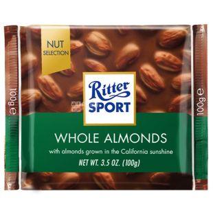 Ritter Sport, 100 г, молочный шоколад, с цельными миндальными орехами