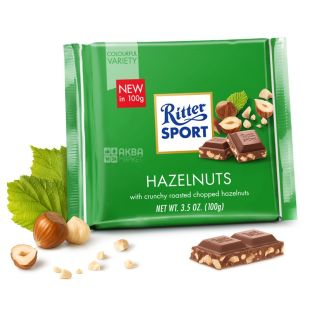 Ritter Sport, 100 г, молочный шоколад, с лесными орехами