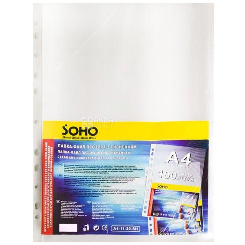 SOHO, Файлы глянцевые, А4, 30 мкм, 100 шт.