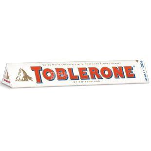Toblerone, 100 г, Білий шоколад, З нугою з меду та мигдалю