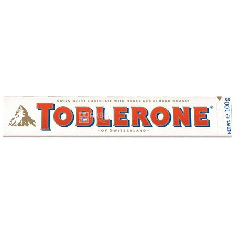 Toblerone, 100 г, Белый шоколад, С нугой из меда и миндаля