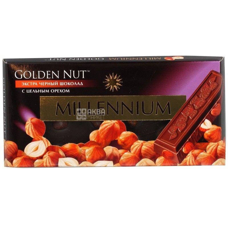 Millenium, 100 г, чорний шоколад, з лісовим горіхом, Golden Nut