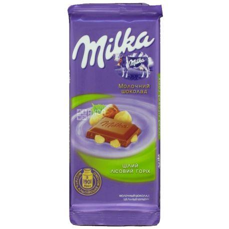 Milka, 90 г, молочний шоколад, з цільним лісовим горіхом
